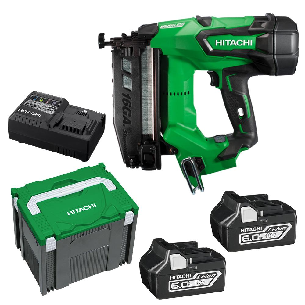 Hikoki Nt1865dbsl Hx Hitachi 65mm 16ga 18v Li Ion Cordless