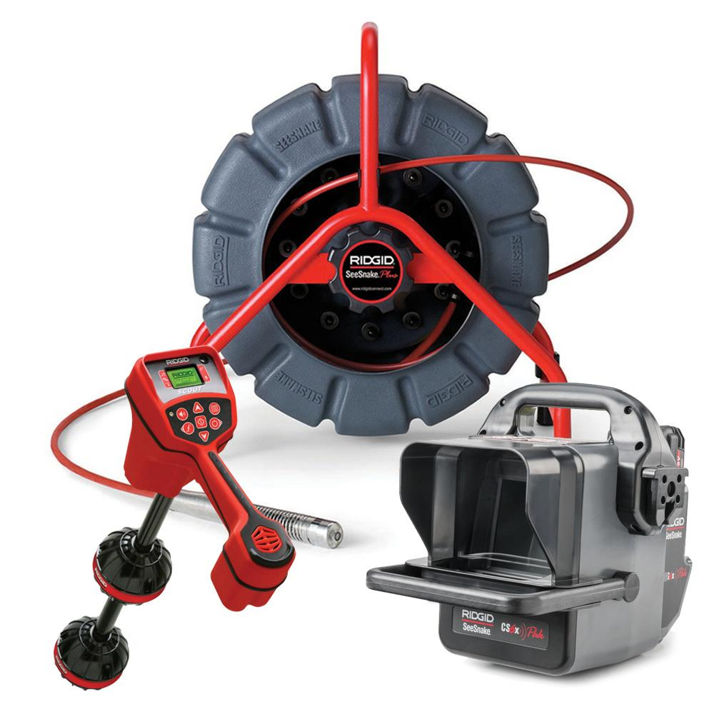 Ridgid 56818+48493 SeeSnake CS6X PAK Digital Recording Box Monitor & 61m  Mini Video Inspection System Reel & Scout Locator Navigator