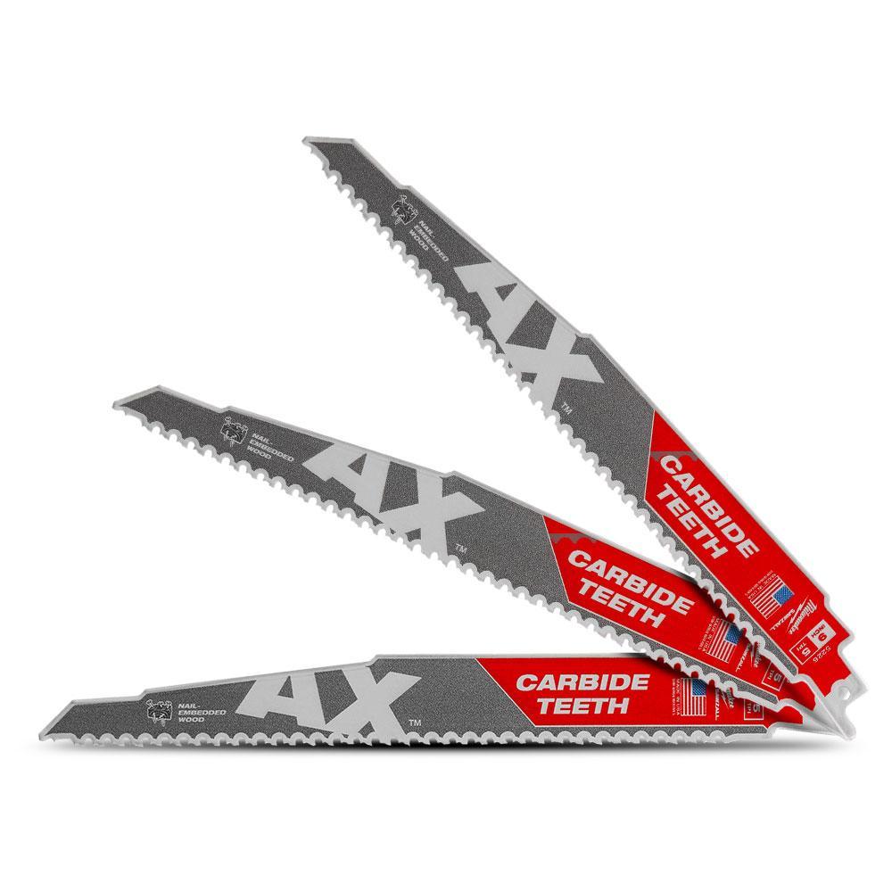 MILWAUKEE Reciprocating Saw Blade 6 in.Carbide Teeth Metal Cutting SAWZALL