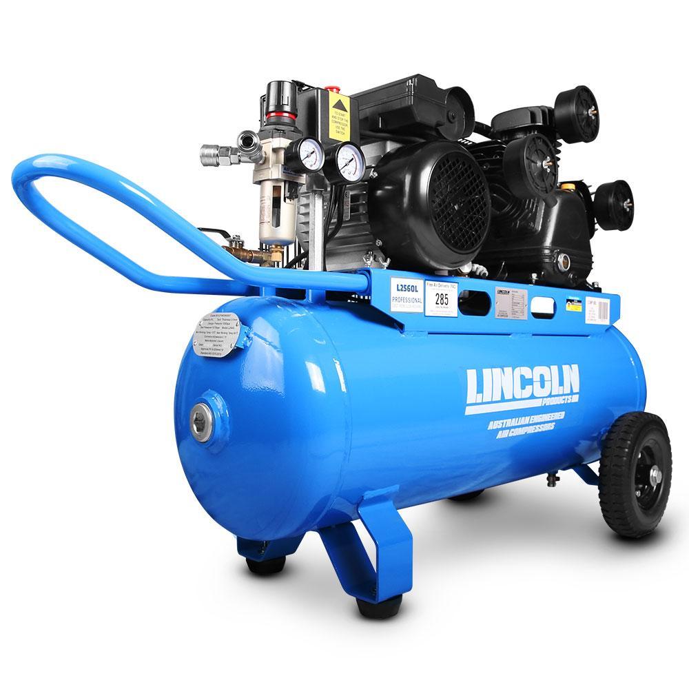 Electric Air Compressor >> Lincoln L2560l 2 5hp 60l Triple Piston Twin Belt Driven Electric Air Compressor