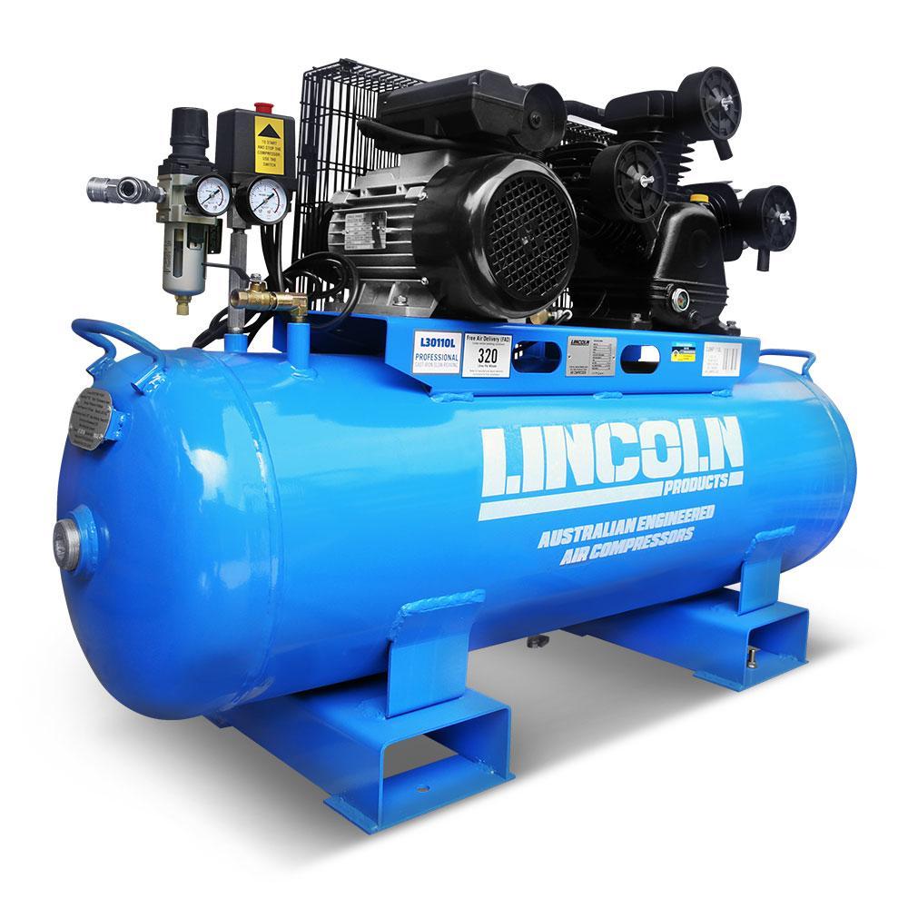 Electric Air Compressor >> Lincoln L30110l 3 0hp 110l Triple Piston Twin Belt Driven Electric Air Compressor