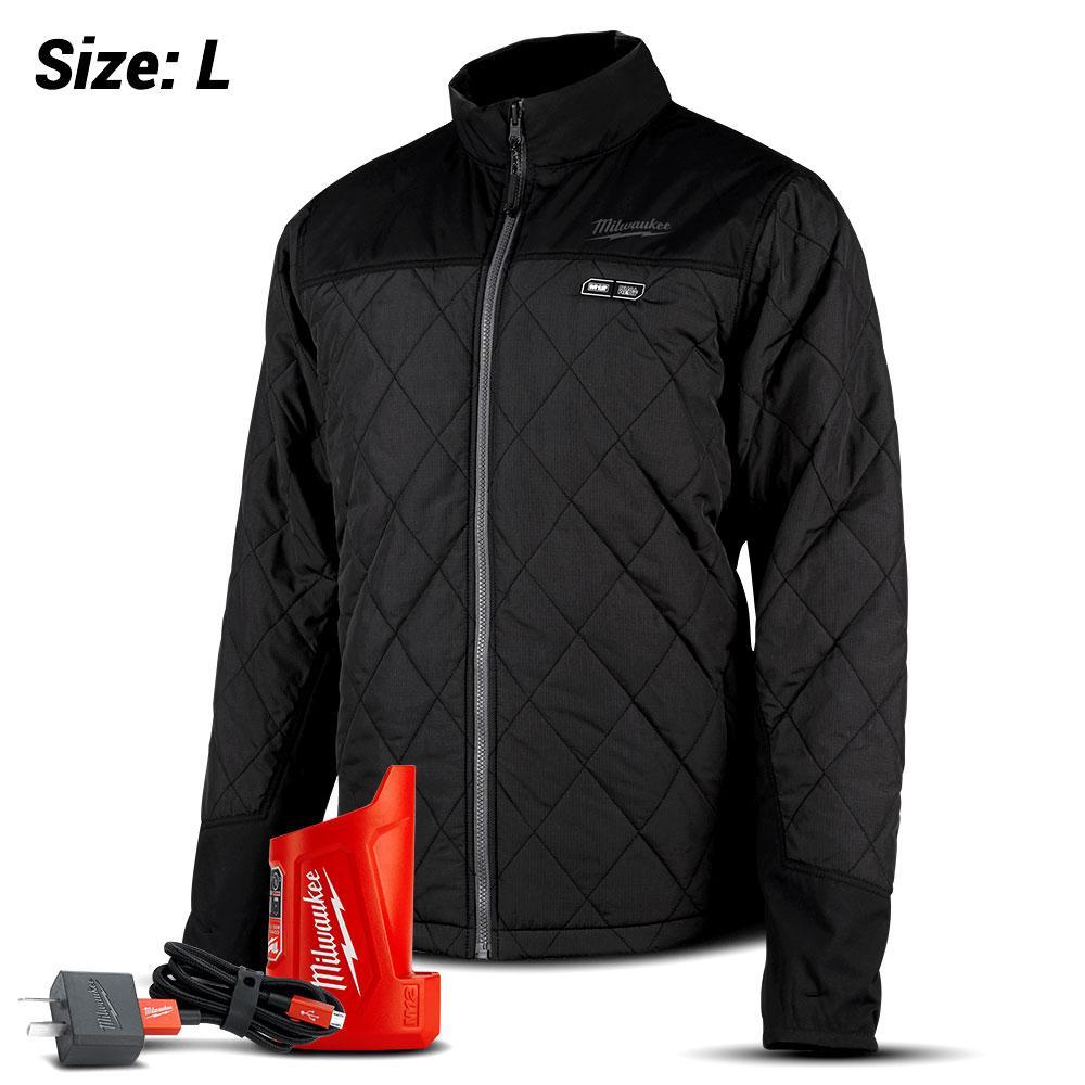 Milwaukee M12HJMBLACK9-0L 12V Li-ion Cordless AXIS Black Heated Jacket  (LARGE) - Skin Only