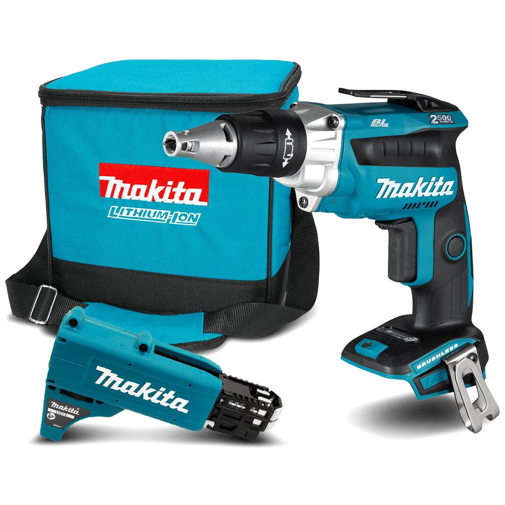 Makita DFS250ZX2 18V Li-ion Cordless Brushless High Torque Screwdriver with  Autofeed Attachment - Skin Only
