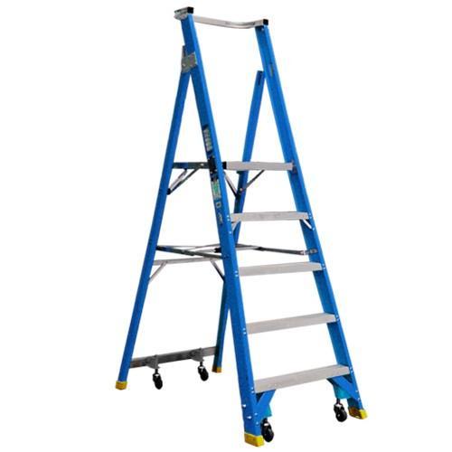 Climbrite Cli5step 5 Step 1 5m Fibreglass Platform Ladder On Wheels