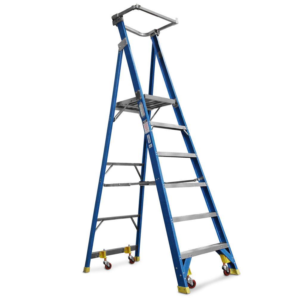 Climbrite Cli6step Sg 6 Step 1 8m Fibreglass Platform Ladder On Wheels With Safety Gate